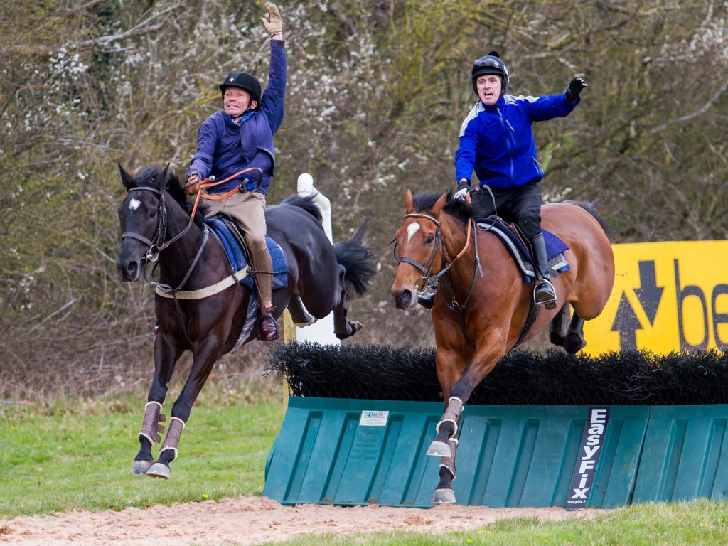 John Francome (left) with his good friend AP McCoy – schooling at the Lambourn Open Day!